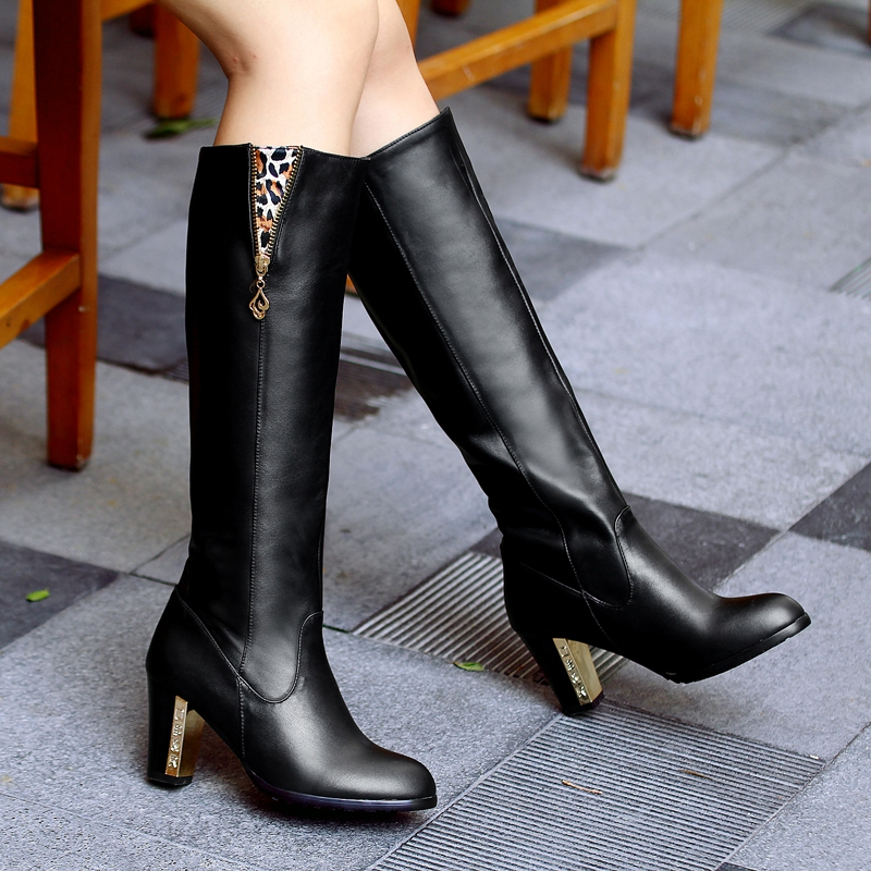 Hot Sale New Brand 2016 Women Boot Shoes Black Genuine -1338