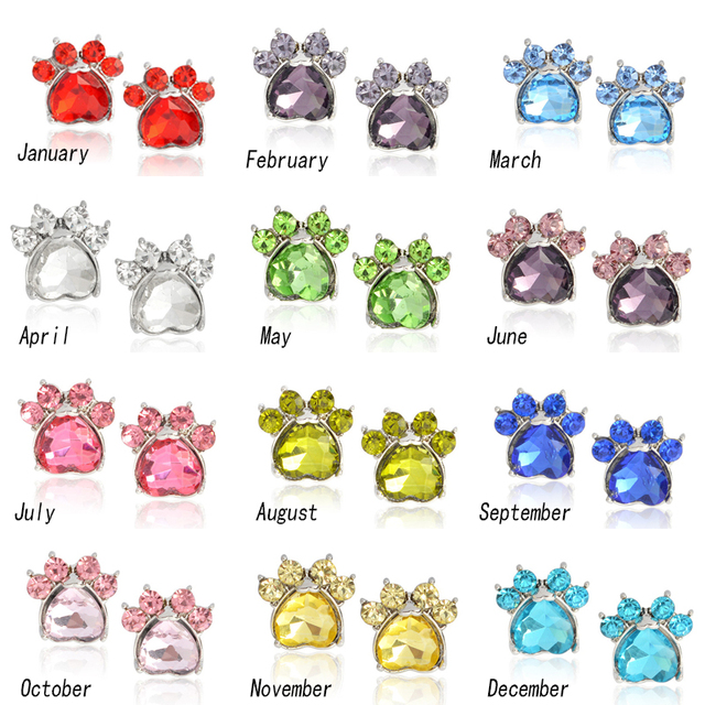 Crystal Heart Earrings Pet Paw Animal Dog Birthstone Earring Print Charm 12 Month Gift For