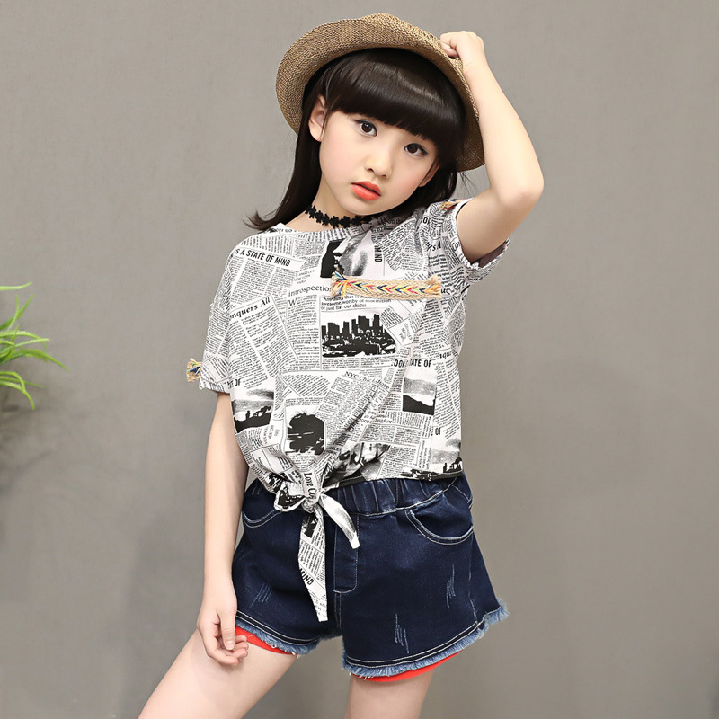 Buy Girls Clothing Set 2017 Summer New Casual Letter Printed Short-sleeved T-shirt + Denim Shorts Pants Kids Suits Children Outfits