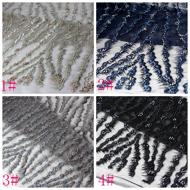 Free shipping 8colors new fashion heavy beaded on netting Embroidery evening stage show dress lace fabric 125cm by yard in Lace from Home Garden