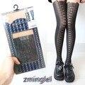 Sexy Gothic Lolita Fake Tie Lace up medias pantimedias negro delgadas Punk Rock Girls