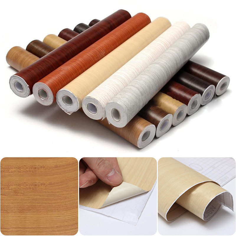 Mayitr Wood Grain DIY Decorative Film Self Adhesive Wall Paper Kitchen Cabinet Waterproof Wallpaper Furniture Renovation Sticker m 4 south korea self adhesive waterproof door pvc wood grain paper wallstickers advanced kitchen furniture renovation films new