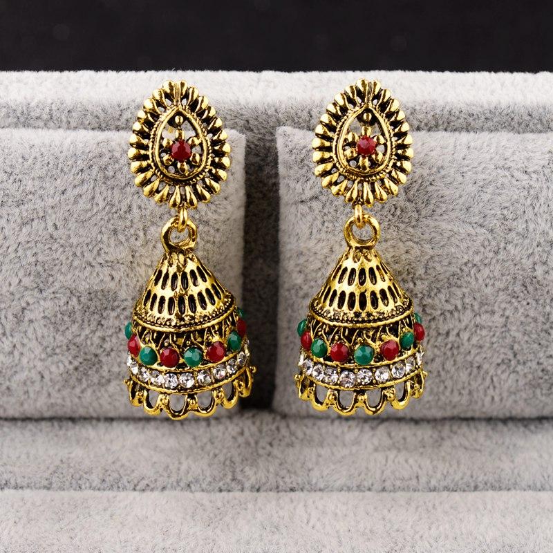 DOUVEI Classical Style Gold Color Bohemian Earrings Women Boho Red&Green Vintage Hollow Ethnic Earrings Turkish Tribal HXE076 1