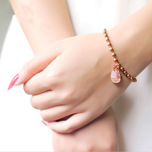 Hot Women Stainless Beads Bracelet with Lucky Cat Charms Fashion Rose Gold color Cheap Cat Charms Bracelet(China)