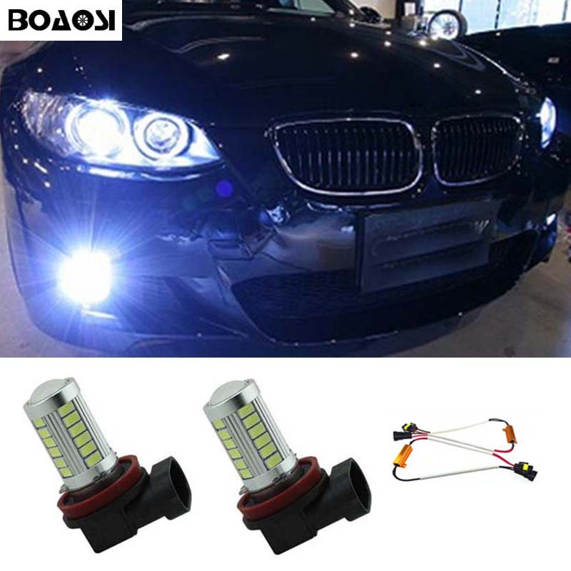 BOAOSI 2x H11 5630SMD LED Fog DRL Light Bulb No Error Lamp For BMW E71 X6 M E70 X5 E83 F25 x3 Car Accessories 2x led h11 h8 h9 h11 no error decoder 80w with cree chip car bulb light fog lamps drl headlights for bmw 3 e90 e92 x5 2002 2010