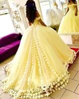 2018 Желтый бальное платье Пышное Платье 3D цветочный цветы с плеча Сладкий 16 плюс Размеры фатиновое платье принцессы маскарад для выпускного