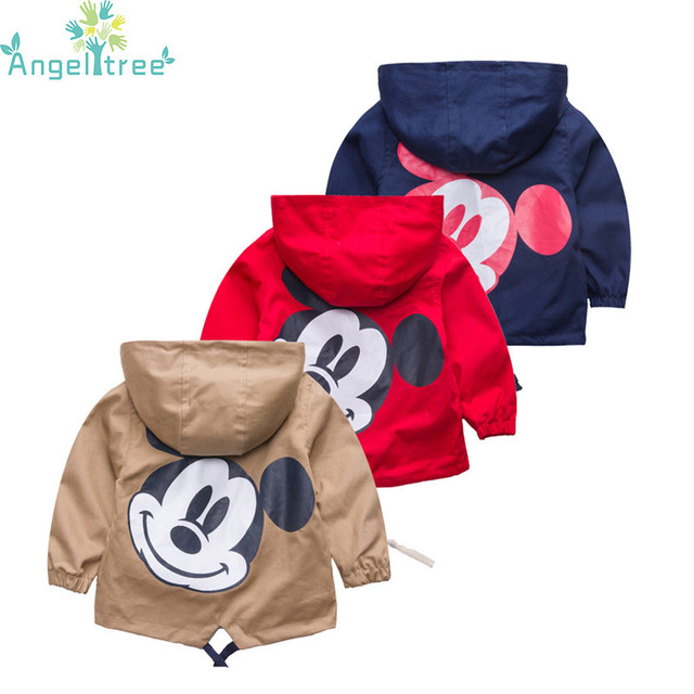 Angeltree Новый Куртки на девочек и мальчиков для детей с капюшоном милый Микки ветровка Детские пальто Детская одежда Весенняя верхняя одежда Костюмы