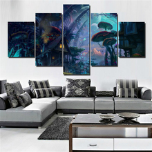5 Panels Art Canvas Print Fantasy Mushrooms Forest Poster Wall Picture Baby Room Home Decor Abstract Artwork Mushroom