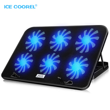 цена на Notebook Stand USB Radiator Cooler Fan LED Backlight with 6 Cooling Fans For Laptop Computer Mute Cooling Cracket Base Pad