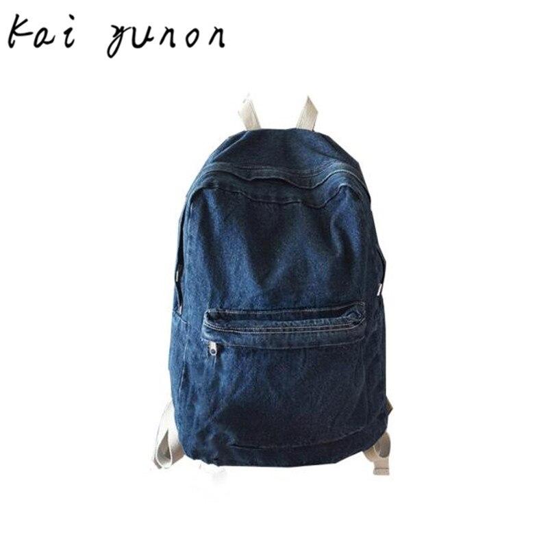 kai yunon  Unisex Fashion Denim Travel Backpack Bags School bag Rucksack Casual Retro Sep 5 мужской джинсовые рюкзаки
