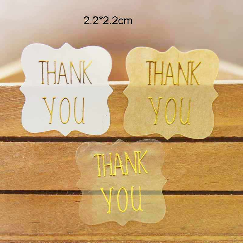 100pcs Thank you gold foil gift labels DIY handmade with love transparent sticker labels for  jewelry/cookies/handmade favors
