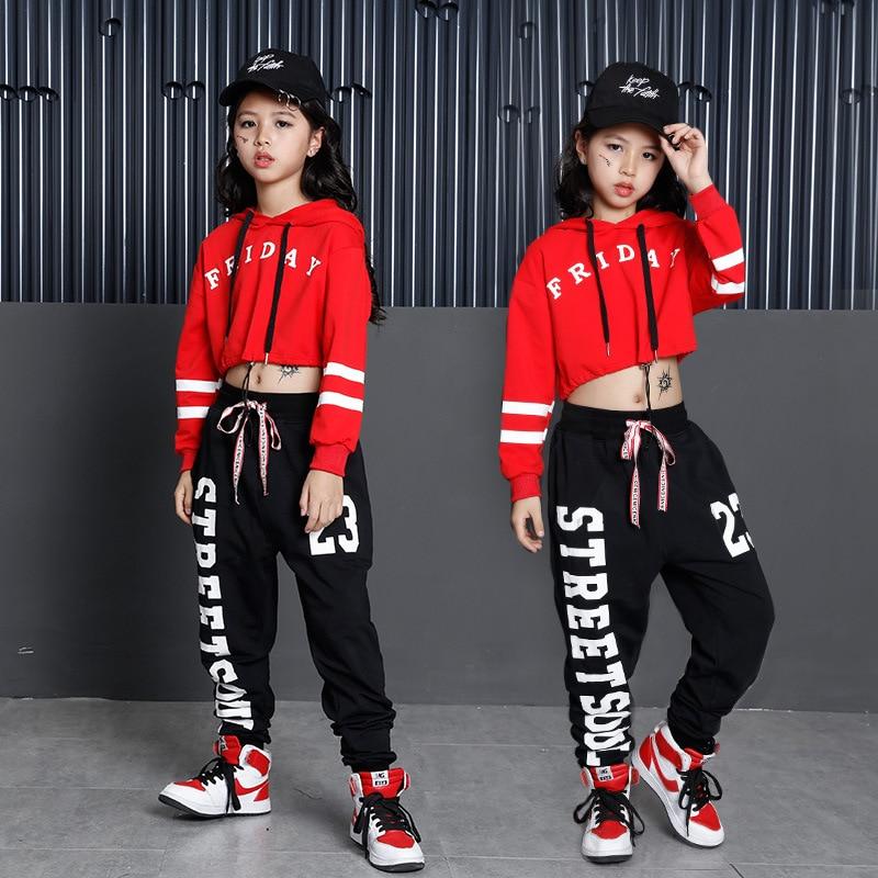 Girls Ballroom Costume Hip Hop Jazz Dancewear Clothing Children Performance Shows Exhibition Suits Dancing Clothes Kid Hoodies
