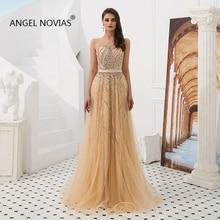 ANGEL NOVIAS Long Real Abendkleider Crystals Glitters Champagne Evening Dresses 2019 vestido de noche elegante