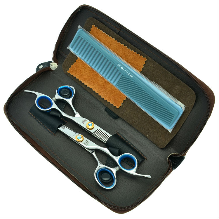6.0 Professional Salon Cutting & Thinning Scissors Kit Blue Rhinestone Hair Shears Hairdressing Barber Set, LZS0135