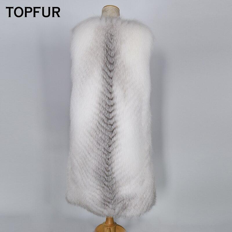 Fourrure Renard 100 Femmes Nouvelle Réel Naturel Topfur Mode Hiver Femme Luxe Long Style Croix Cm Gilet De N8XZwPkn0O