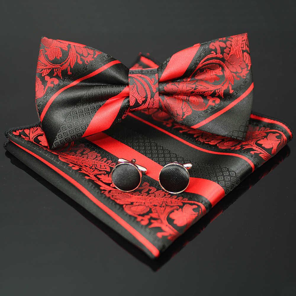 100% Sutra Jacquard Tenun Kupu-kupu Pria Kupu-kupu Self Bow Tie Klasik Mete Pola Dasi Kupu-kupu Saku Persegi Saputangan Manset Set Kotak