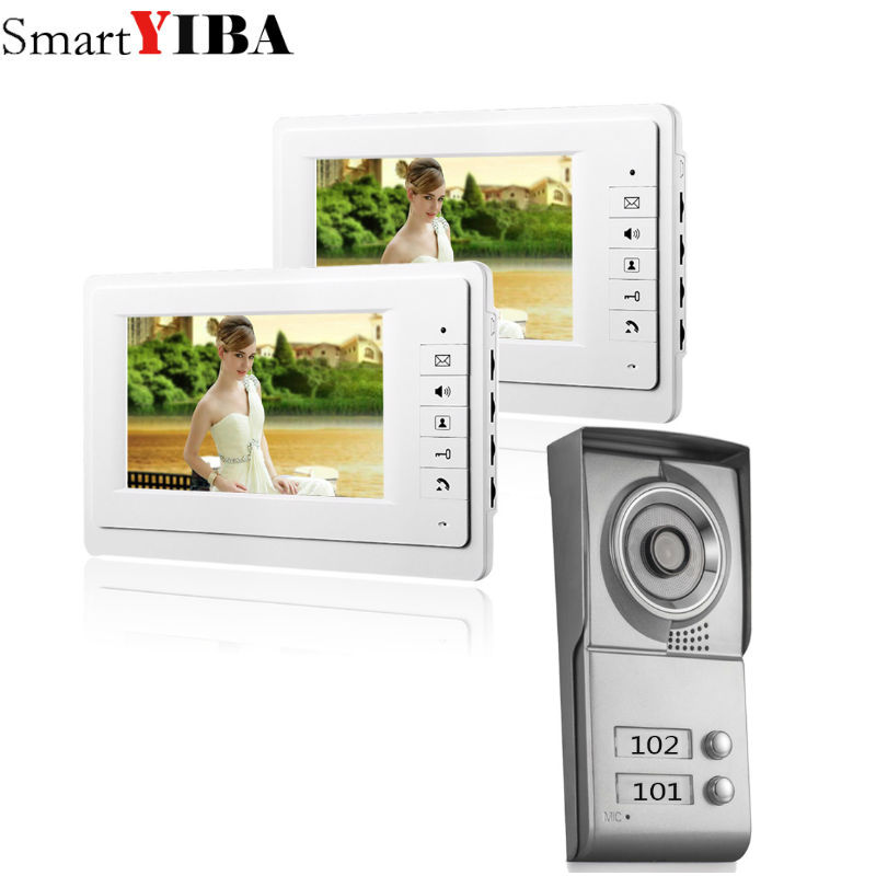 SmartYIBA 7 Video Intercom Apartment Door Phone System 2 White Monitors 1 HD Camera for 2 Household 2 Unit Apartment Intercom