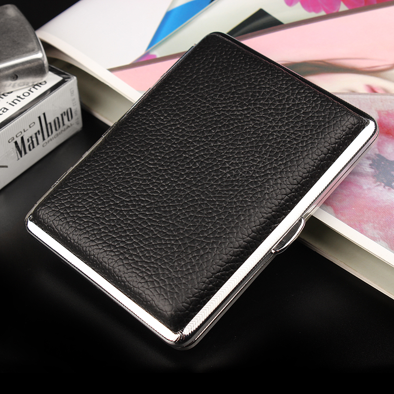 Ultra Thin Black Leather Waterproof And Anti Extrusion Unisex Cigarette Case Can Carry 16 Cigarette Box