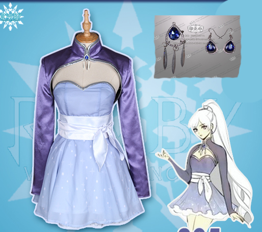 Anime RWBY White Weiss Schnee Cos Party Hallowmas Cosplay Costume with accessory