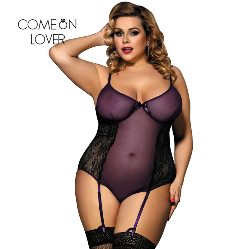 Buy Comeonlover Lace Sexy Teddy Lingerie Plus Size Purple Teddy Garter New Arrival Tenue Erotic Lace Bodysuit Lingerie RI80271
