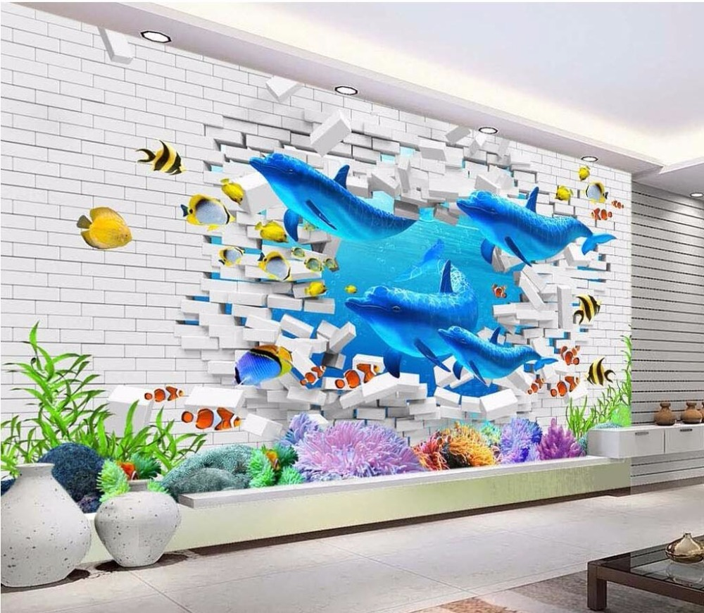 Custom photo 3d wallpaper brick wall ocean dolphin painting wall custom photo 3d wallpaper brick wall ocean dolphin painting wall papers home decor 3d wall murals wallpaper for living room in wallpapers from home amipublicfo Gallery
