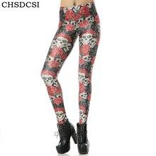 CHSDCSI Workout Leggings Elastic Printing Skulls Fashion Women Red Rose Trouser Pirate Costume 3D Leggins Pant Fitness Legging