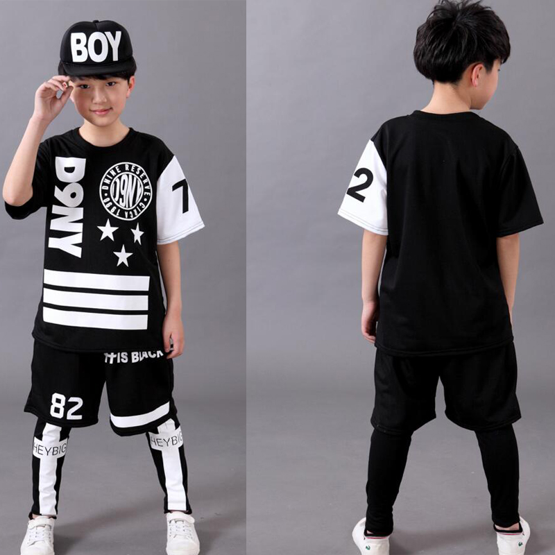 3 Pieces/Set Black Kids Adults Hip Hop Dancewear Cosutmes Outfits Boys Girls Morden Jazz Ballroom Party Stage Dancing Clothes