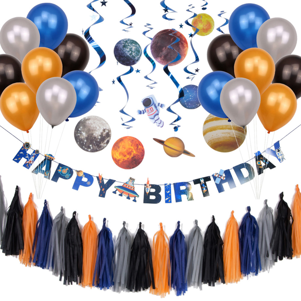 Outer Space Party Decorations Solar System Hanging Swirl Decorations UFO Happy Birthday Banner Latex Balloons Tassel GarlandOuter Space Party Decorations Solar System Hanging Swirl Decorations UFO Happy Birthday Banner Latex Balloons Tassel Garland