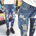 2016 New Arrived Men's Biker Jeans Bule Casual Slim Distressed Denim Hiphop Pant For Male Hots Jean Designer Skinny Trousers