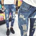 2016 Nuevos Llegados hombres Biker Jeans Bule Hiphop Ocasional Delgado Distressed Denim Jean Pant Para Hombre Hots Diseñador Flaco pantalones