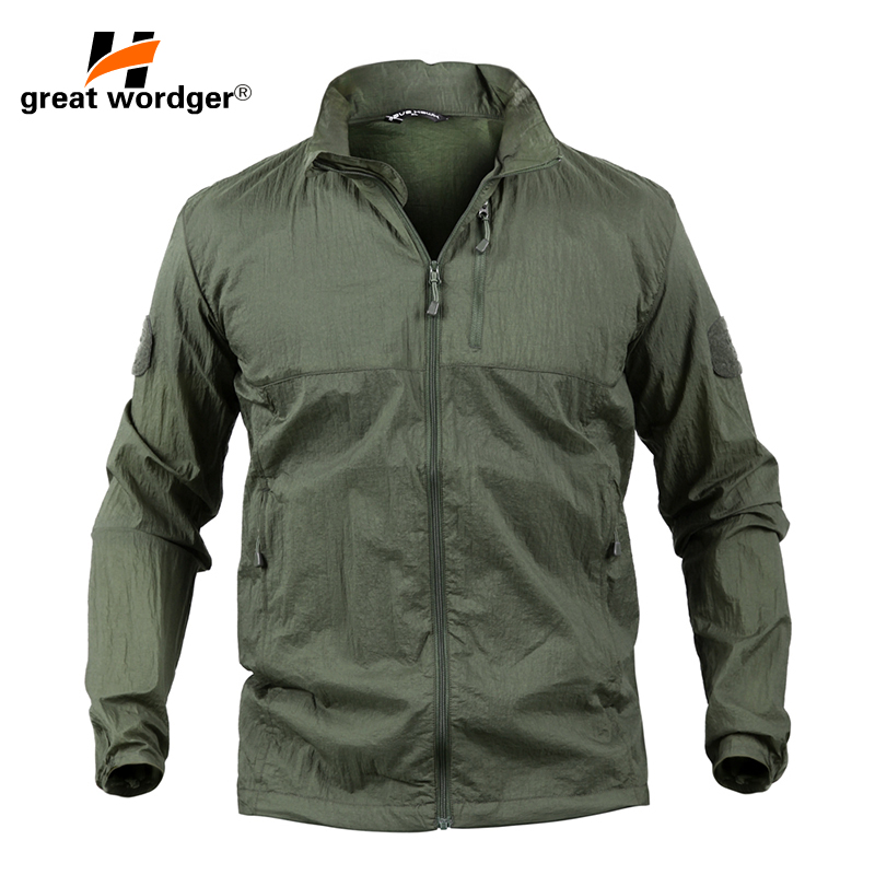 Outdoor Camping Clothing Quick Dry Hiking Jacket Men Waterproof Sun & UV Protection Coat Sport Skin Jackets