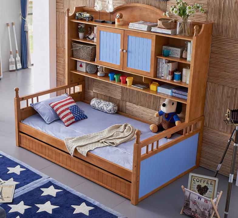 Mediterranean Children's Furniture , Solid Wood Bed, Multi-functional Bed, Double Deck Wardrobe, Bed 1.2 Meters