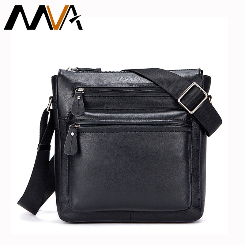 MVA Genuine Leather men Bag Shoulder Crossbody Bags for Men Messenger Bag zipper Mens Leather Small Flap Soft Male handbags 8918 genuine leather bag male men bags small shoulder crossbody bags handbags casual messenger flap men leather bag crocodile pattern