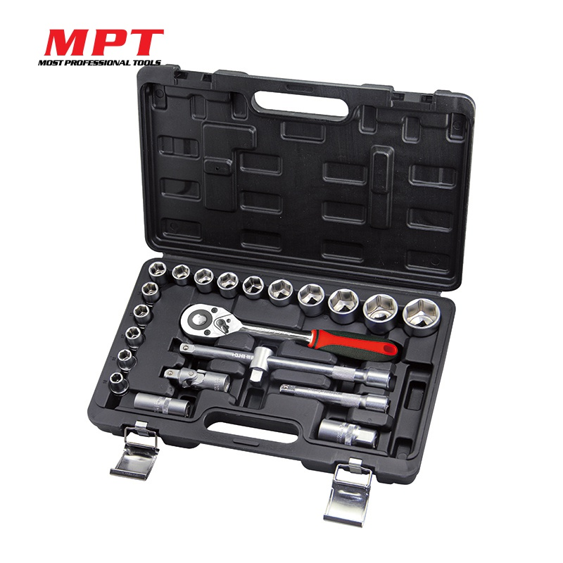 MPT 22pcs Socket Set 1/2 Repair Tool Kit Ratchet Torque Wrench  CR-V Ratchet Extension Bar For Automobiles DIY Hand Tool Set jetech 15pcs 1 2 dr metric socket wrench set with ratchet extention bar 5 inch kit ferramenta car tool sets lifetime guarantee