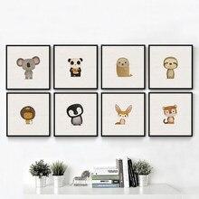 Affiche et imprimés en toile avec Animal de dessin animé nordique avec renard Koala pour décoration murale pour chambre d'enfant