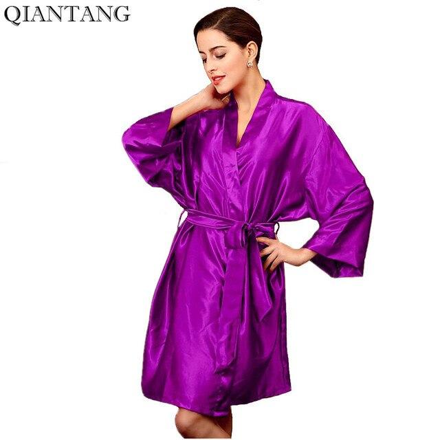 2a4c438431acc Kimono pour femme violet Robe peignoir de nuit vêtements de nuit femme  fausse soie Robe de