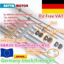 [EU RU UA STOCK] SBR20 Linear Rail L 300/600/1000mm+3set Ballscrew SFU1605  350/650/1050mm with Nut + 3set BK/BF12 +Couplings
