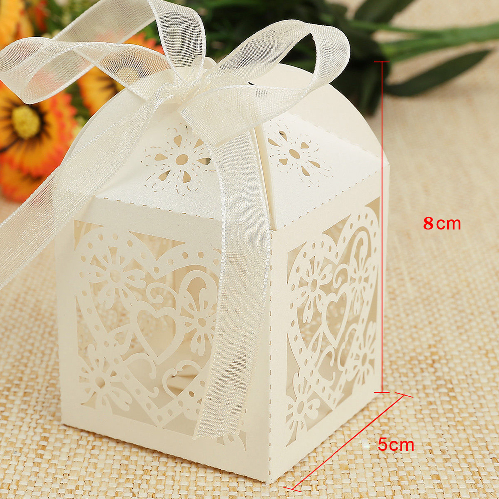100pcs 5x5x8cm Love Heart Laser Cutting Wedding Candy Box Wedding ...