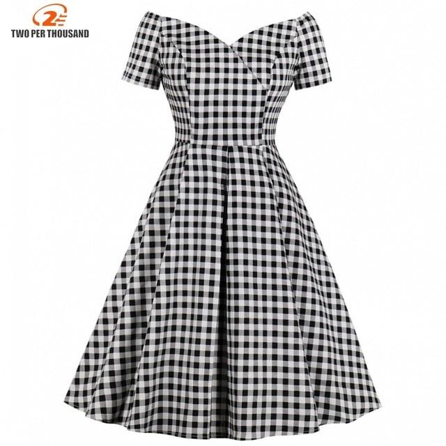 Short Sleeves Midi Dresses Casual Vintage Plaid  Retro Pleated Dress 1