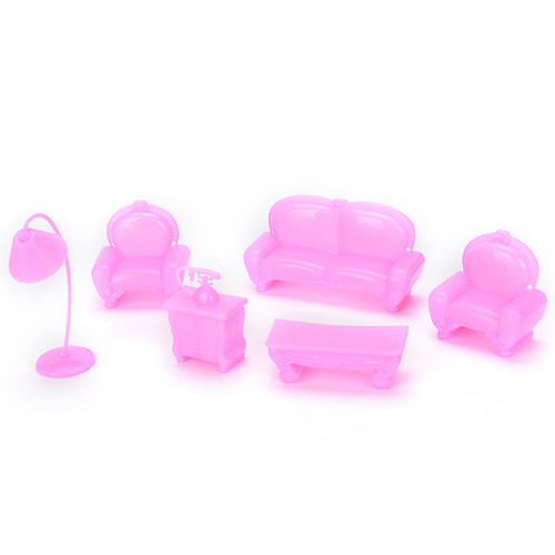 6 PCS Beautiful Plastic Sofa Couch Set Doll Accessories Cute Dollhouse  Furniture Set Barbie Doll House Furniture Kids Best Gift