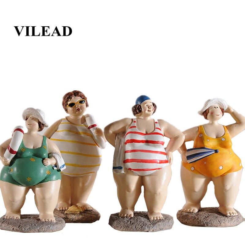 VILEAD 4pc/Set Resin Fat Lady Bikini Figurines Mediterranean Women Characters Statue Crafts Creative Modern Gift Home Decoration