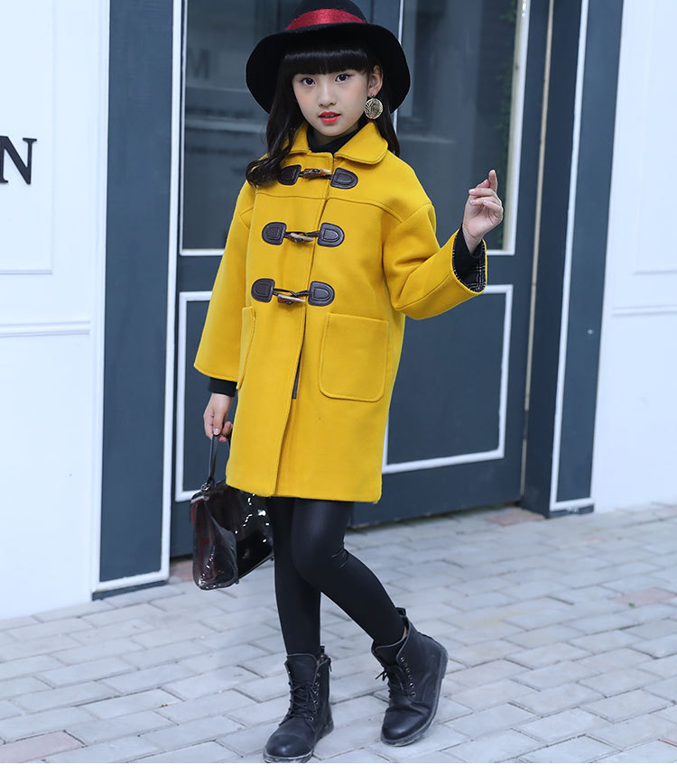 Girls coat 2018 winter thickening new long-sleeved solid color long fashion woolen coat 3-12 baby girl clothes waist belted solid long coat