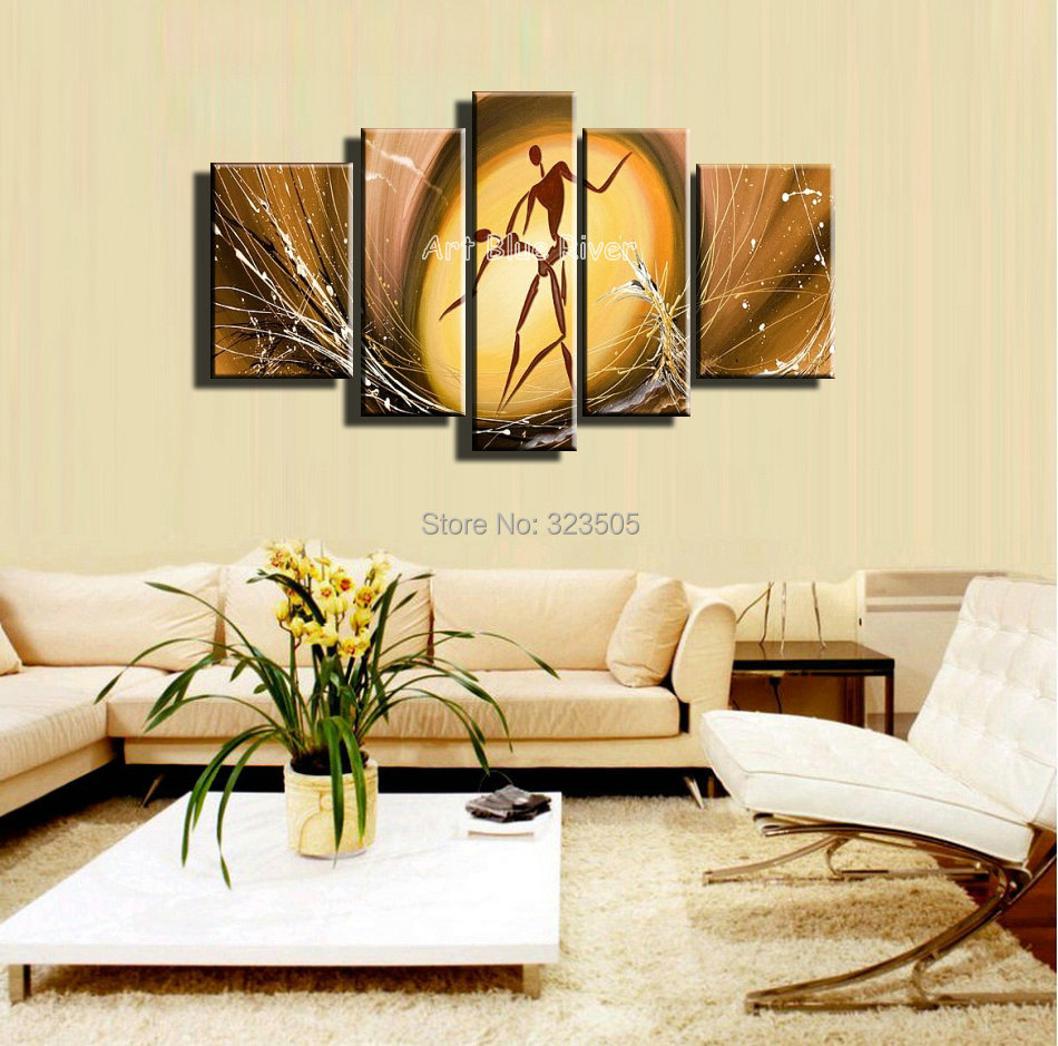 5 piece canvas wall art dancing couples paintings abstract modern ...