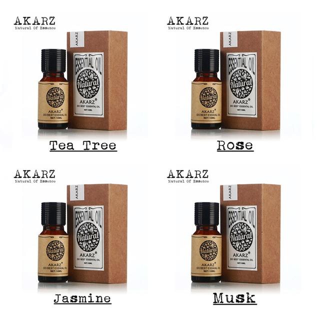 AKARZ Famosa marca 100% Puro da árvore do chá de Jasmim Musk rosa Pacote de Óleos Essenciais Para Aromaterapia, massagem, Spa, banho 4 pçs/lote