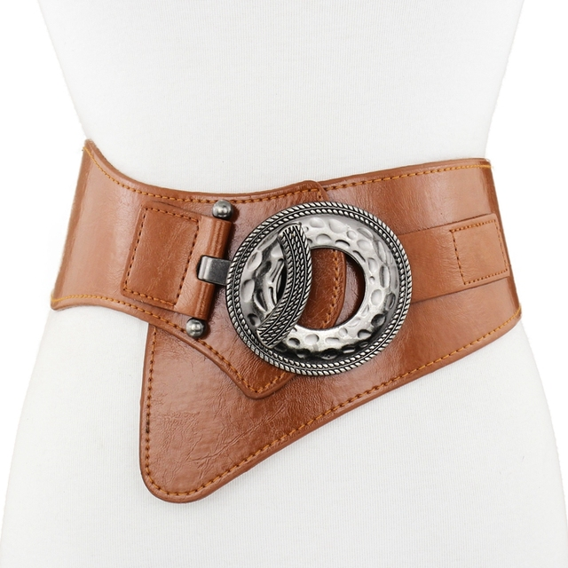 سيدة جلدية حزام المرأة حزام جلد طبيعي تنورة تقليم الفراء معطف أسفل سترة حزام مرن أسود واسعة زنار B 8403