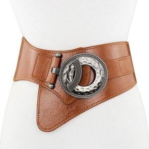 Image 1 - Lady Leather Waistband Womens Genuine Leather Belt Skirt Trim Fur Coat Down Jacket Belt Black Elastic Wide Waistband B 8403