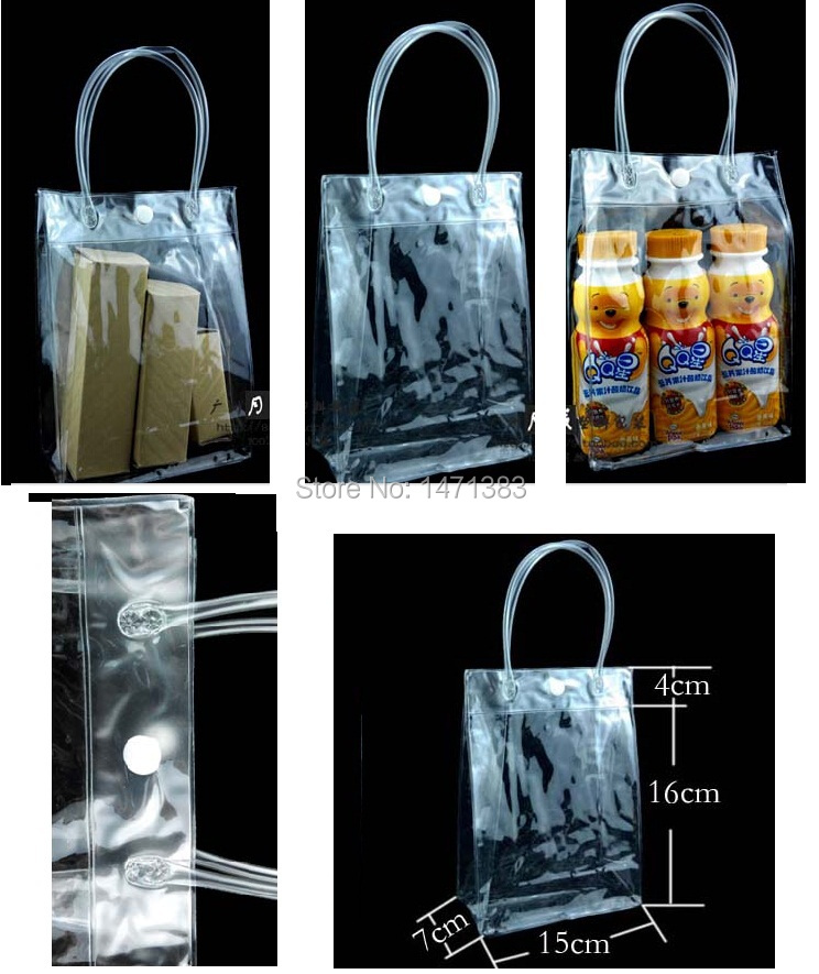 15*7*16cm Clear pvc cosmetic packaging bag with handle