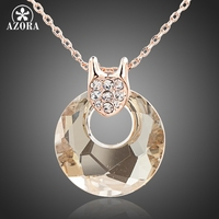 18K Rose Gold Plated Gold Round SWA ELEMENTS Austrian Crystal Jewelry Pendant Necklace FREE SHIPPING Azora