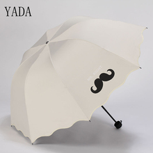 YADA Cute Design Cartoon MR.RIGHT Mustache Pattern Folding Rainy Umbrella For Women Men Anti-UV Gift Lovely Lace YD024
