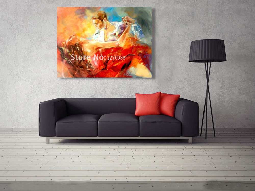 Dancing Tango Oil Painting Handmade High Quality Impression Red Skirt Girl and Man Dancer Figure Painting for Room Decoration in Painting Calligraphy from Home Garden